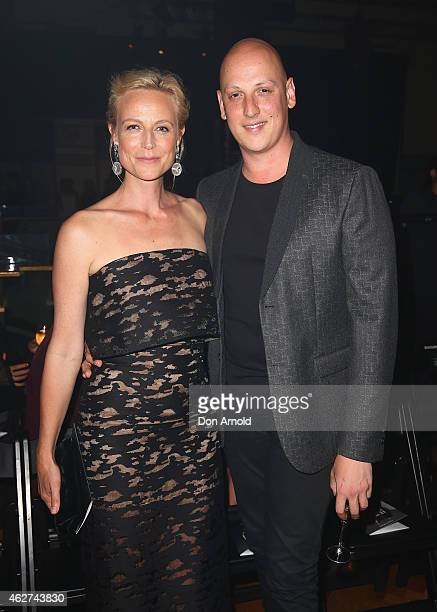 Marta Dusseldorp and Michael Lo Sordo sit front row at the David Jones Autumn/Winter 2015 Collection Launch at David Jones Elizabeth Street Store on...