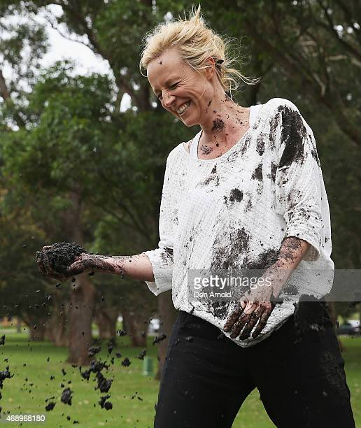 Marta Dusseldorp participates in a mud fight to raise awareness about the 'Mud Pie Project' to help raise funds to complete the Ian Potter Children's...
