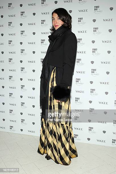 Marta Ferri attends a Pinko bag for Ethiopia cocktail party on February 21 2013 in Milan Italy