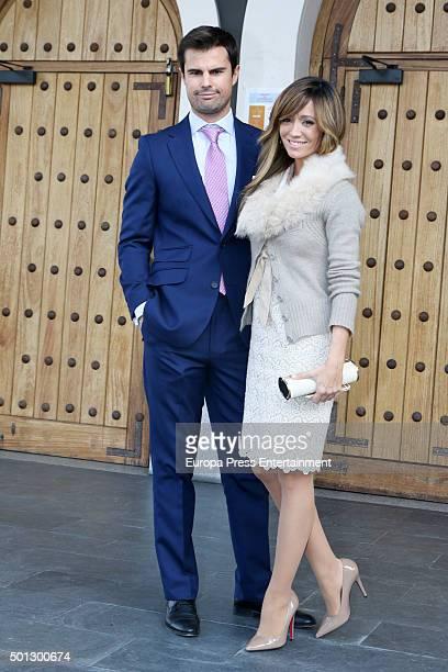 Marta Gonzalez and Curi Gallardo attend the Christening of Juan Pena and Sonia Gonzalez 's son Tristan Pena on December 10 2015 in Madrid Spain