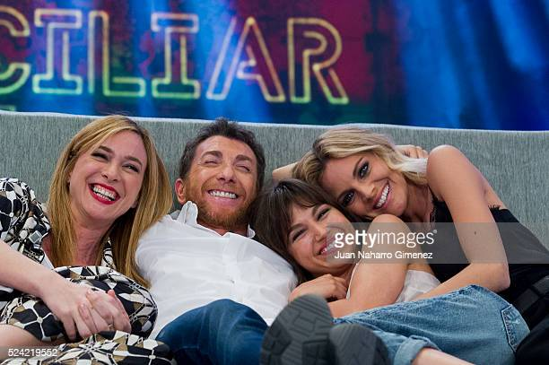 Marta Hazas Pablo Motos Ursula Corbero and Amaia Salamanca attend 'El Hormiguero' Tv show at Vertice Studio on April 25 2016 in Madrid Spain