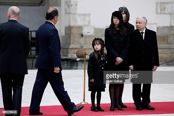 Marta Kaczynska daughter of late Polish President Lech Kazcynski her daughter Ewa and twin brother of Lech Kaczysnki Jaroslaw Kaczynski receive...