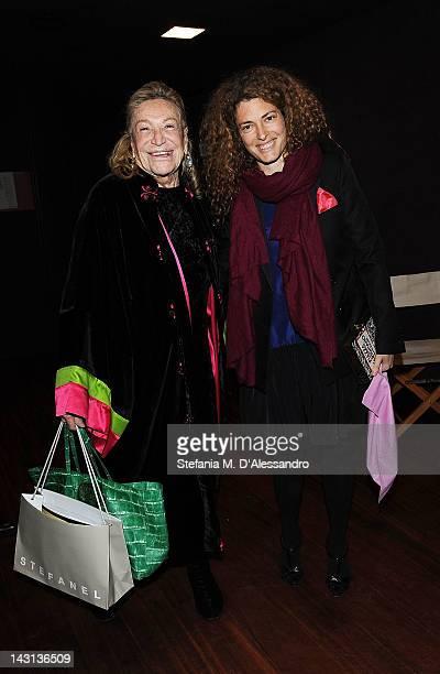 Marta Marzotto and Ginevra Elkann attend 'May I introduce you Volume 2' Cocktail Party at Museo della Scienza e della Tecnica on April 19 2012 in...