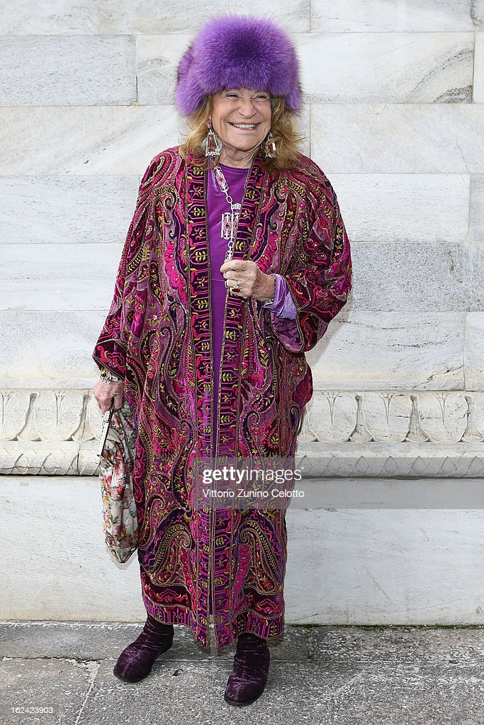 <a gi-track='captionPersonalityLinkClicked' href=/galleries/search?phrase=Marta+Marzotto&family=editorial&specificpeople=621672 ng-click='$event.stopPropagation()'>Marta Marzotto</a> attends the Roberto Cavalli fashion show as part of Milan Fashion Week Womenswear Fall/Winter 2013/14 on February 23, 2013 in Milan, Italy.