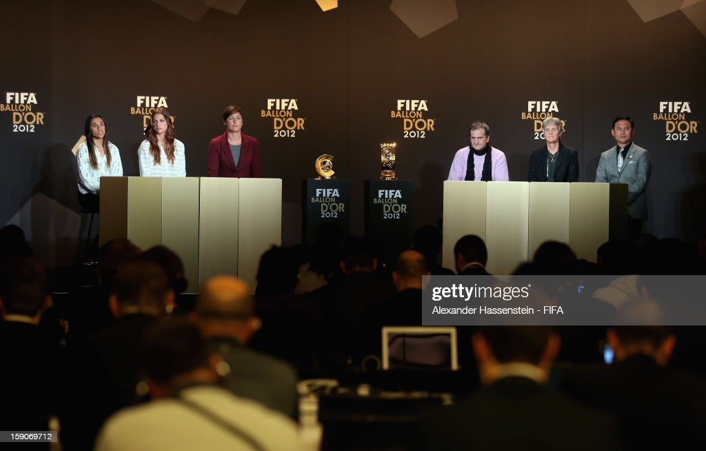 Marta of Brazil, Alex Morgan and Abby Wambach of the USA, Bruno Bini of France, Pia Sundhage of Sweden and Norio Sasaki of Japan during the Press Conference for the Nominees for the Women's World Player of the Year and World Coach of the Year for Women's Football prior to the FIFA Ballon d'Or Gala 2012 at the Kongresshaus on January 7, 2013 in Zurich, Switzerland.