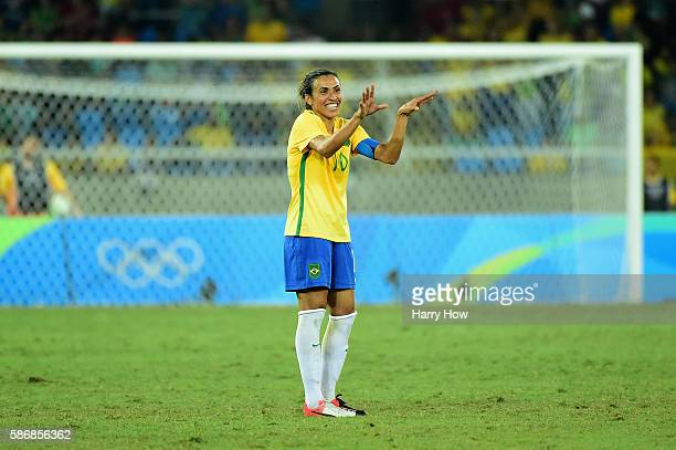 Marta of Brazil celebrates a goal during the Women's Group E first round match between Brazil and Sweden on Day 1 of the Rio 2016 Olympic Games at...