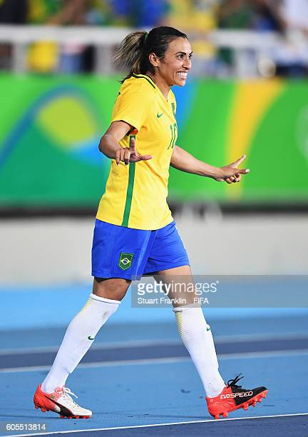 Marta of Brazil celebrates after the Olympic Women's Football match between Brazil and Sweden at Olympic Stadium on August 6 2016 in Rio de Janeiro...