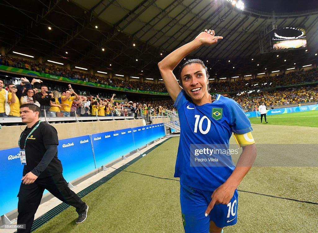 Marta of Brazil celebrates their 00 win over Australia during the Women's Football Quarterfinal match at Mineirao Stadium on Day 7 of the Rio 2016...
