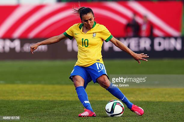 Marta of Brazil controles the ball during the Women's International Friendly match between Germany and Brazil at TrolliArena on April 8 2015 in...
