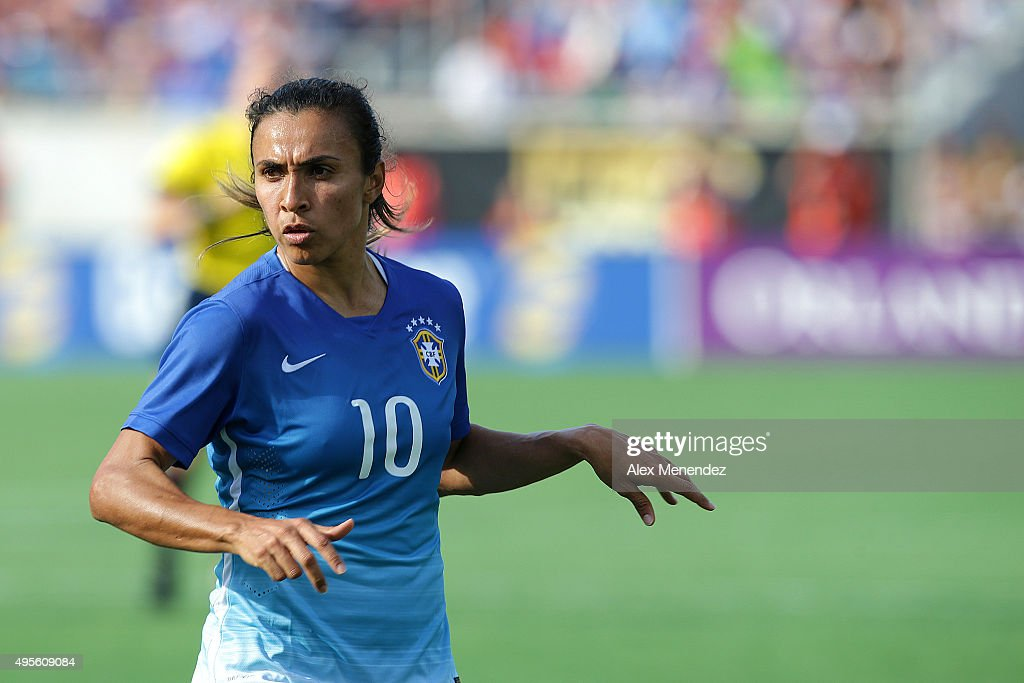 <a gi-track='captionPersonalityLinkClicked' href=/galleries/search?phrase=Marta+-+Soccer+Player&family=editorial&specificpeople=3038337 ng-click='$event.stopPropagation()'>Marta</a> #10 of Brazil dribbles the ball during a women's international friendly soccer match between Brazil and the United States at the Orlando Citrus Bowl on October 25, 2015 in Orlando, Florida.