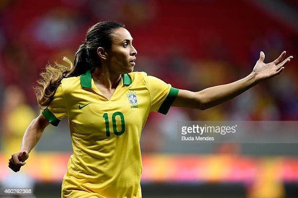 Marta of Brazil gestures during a match between Brazil and Argentina as part of International Women's Football Tournament of Brasilia at Mane...