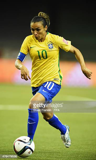 Marta of Brazil in action during the FIFA Women's World Cup 2015 group E match between Brazil and Korea Republic at Olympic Stadium on June 9 2015 in...