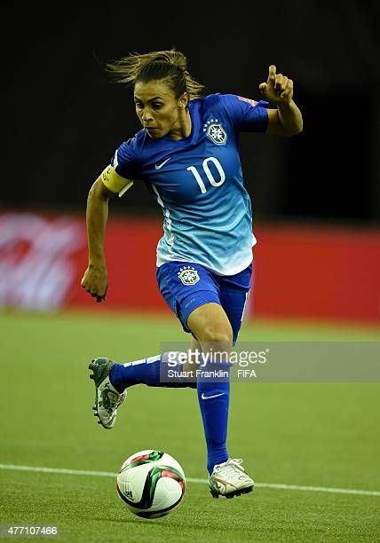 Marta of Brazil in action during the FIFA Women's World Cup 2015 group E match between Brazil and Spain at Olympic Stadium on June 13 2015 in...