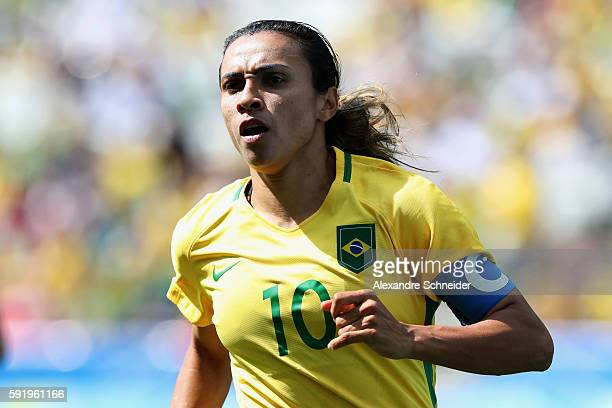 Marta of Brazil in action during the Women's Olympic Football Bronze Medal match between Brazil and Canada at Arena Corinthians on August 19 2016 in...