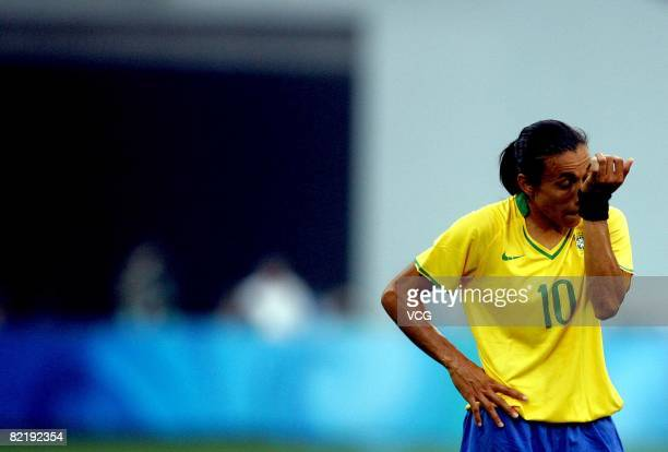 Marta of Brazil is seen during the women's preliminary group F match between Germany and Brazil at Shenyang Stadium on day 2 of the Beijing 2008...