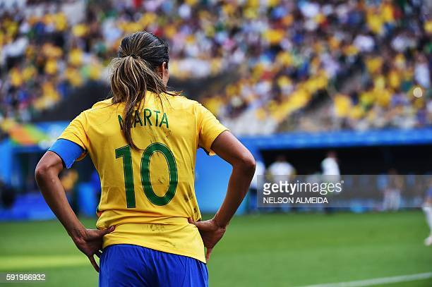 Marta of Brazil is seen during their Rio 2016 Olympic Games women's bronze medal football match Brazil vs Canada at the Arena Corinthians Stadium in...