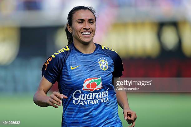 Marta of Brazil is seen on the pitch during a women's international friendly soccer match between Brazil and the United States at the Orlando Citrus...