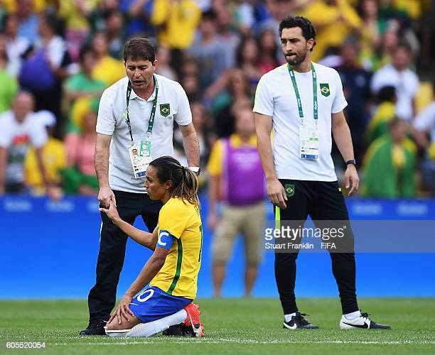 Marta of Brazil looks dejected at the end of the Olympic Womens Semi Final Football match between Brazil and Sweden at Maracana Stadium on August 16...