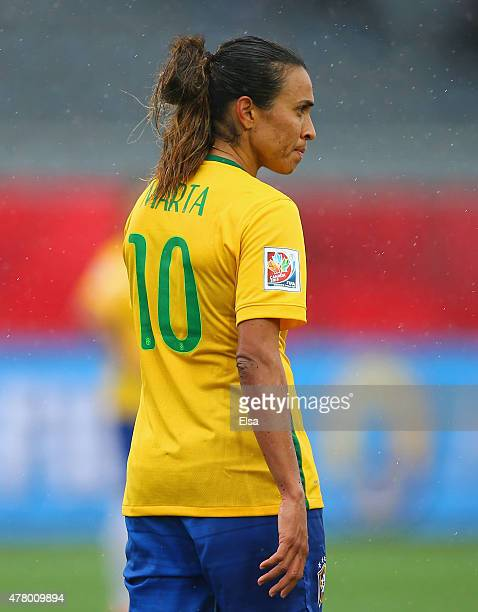 Marta of Brazil looks dejected in defeat after the FIFA Women's World Cup 2015 round of 16 match between Brazil and Australia at Moncton Stadium on...