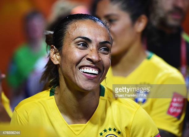 Marta of Brazil looks happy in the players tunnel during the FIFA Women's World Cup 2015 group E match between Brazil and Korea Republic at Olympic...