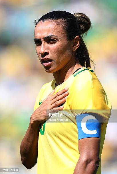 Marta of Brazil looks on ahead of the Women's Football Semi Final between Brazil and Sweden on Day 11 of the Rio 2016 Olympic Games at Maracana...