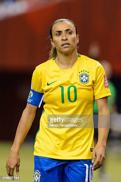 Marta of Brazil looks on during the 2015 FIFA Women's World Cup Group E match against Korea Republic at Olympic Stadium on June 9 2015 in Montreal...