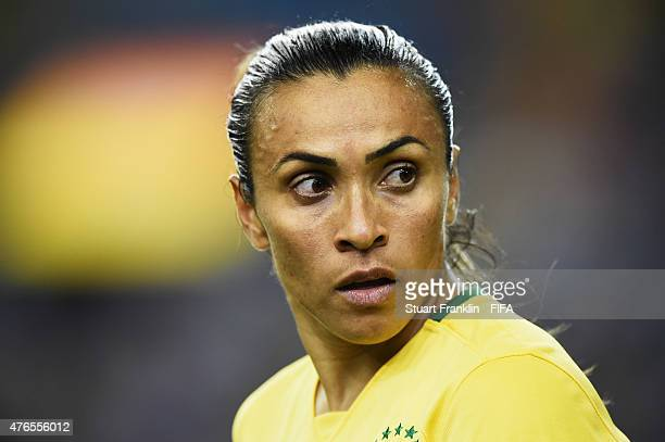 Marta of Brazil looks on during the FIFA Women's World Cup 2015 group E match between Brazil and Korea Republic at Olympic Stadium on June 9 2015 in...