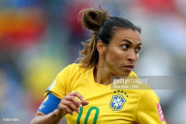 Marta of Brazil looks on during the FIFA Women's World Cup 2015 Round of 16 match between Brazil and Australia at Moncton Stadium on June 21 2015 in...