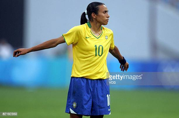 Marta of Brazil looks on during the women's preliminary group F match between Germany and Brazil at Shenyang Stadium on day 2 of the Beijing 2008...