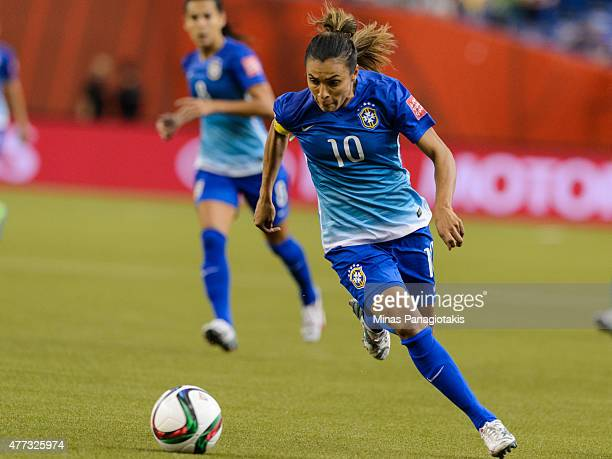 Marta of Brazil moves the ball during the 2015 FIFA Women's World Cup Group E match against Spain at Olympic Stadium on June 13 2015 in Montreal...