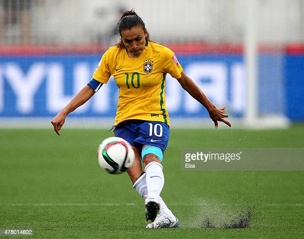 Marta of Brazil passes the ball in the second half against Australia during the FIFA Women's World Cup 2015 round of 16 match between Brazil and...