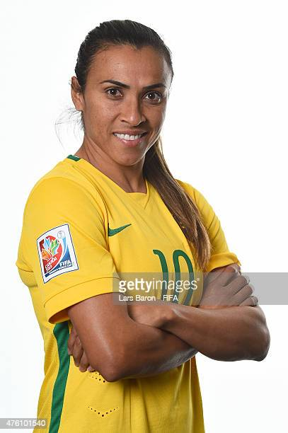 Marta of Brazil poses during the FIFA Women's World Cup 2015 portrait session at Sheraton Le Centre on June 6 2015 in Montreal Canada