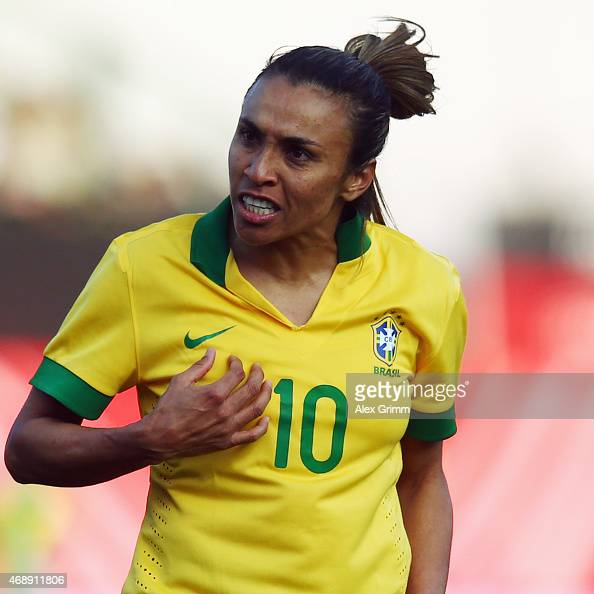 Marta of Brazil reacts during the Women's International Friendly match between Germany and Brazil at TrolliArena on April 8 2015 in Fuerth Germany