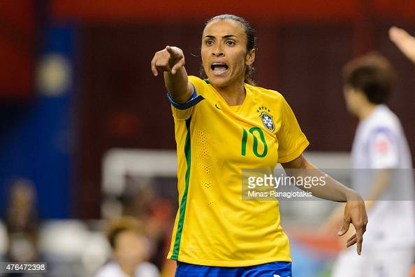 Marta of Brazil reacts to a call during the 2015 FIFA Women's World Cup Group E match against Korea Republic at Olympic Stadium on June 9 2015 in...