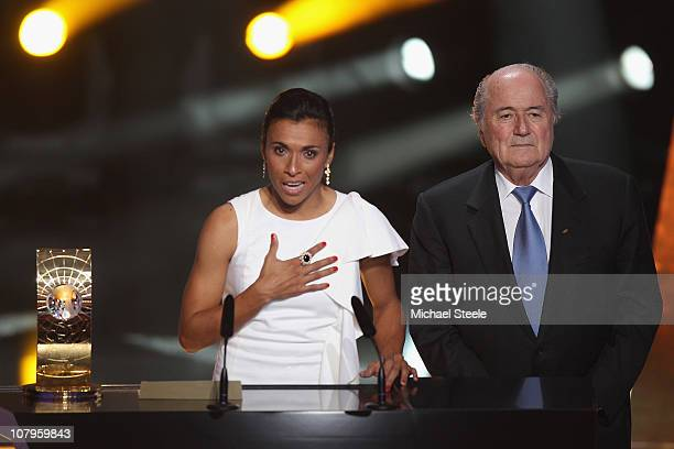 Marta of Brazil winner of the women's player of the year makes her winning speech alongside Fifa President Sepp Blatter during the FIFA Ballon d'or...