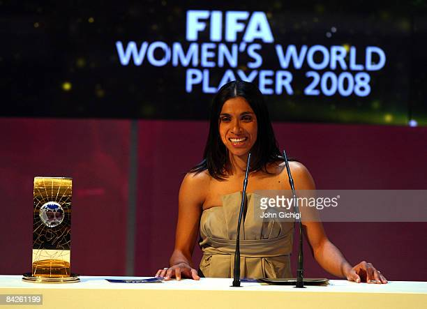 Marta of Brazil wins The FIFA World Player Of The Year 2008 at the Zurich Opera House on January 12 2009 in Zurich Switzerland