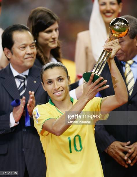 Marta of Brazil won the adidas golden ball during the Women's World Cup 2007 final match between Brazil and Germany at the Shanghai Hongkou Football...