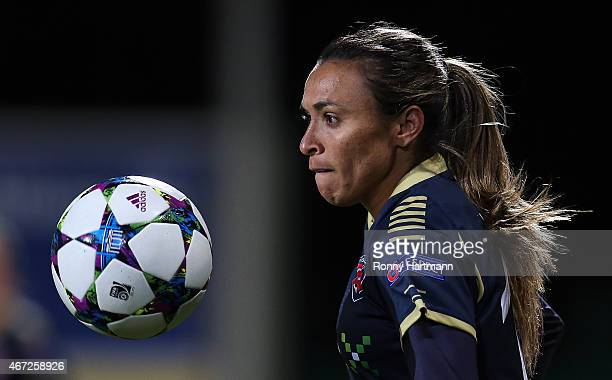 Marta of Rosengard focusses the ball during the first UEFA Women's Champions League quarter final match between VfL Wolfsburg and FC Rosengard at the...