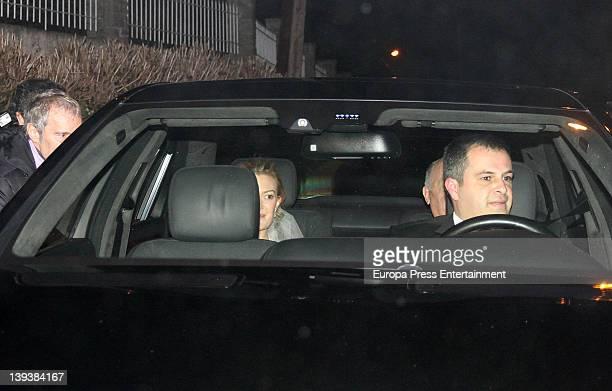 Marta Ortega and her father Amancio Ortega arrive by car at Marta Ortega and Sergio Alvarez Wedding at Pazo de Anceis on February 18 2012 in A Coruna...