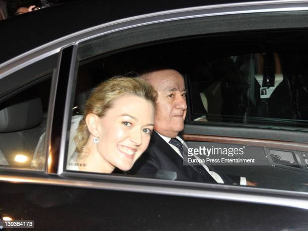 Marta Ortega and her father Amancio Ortega arrive by car at Marta Ortega and Sergio Alvarez Wedding at Pazo de Anceis on February 18 2012 in A Coruna...