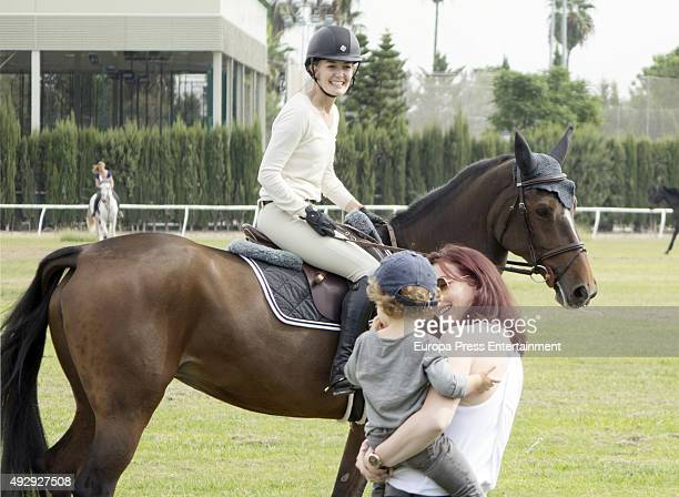 Marta Ortega and her son Amancio Alvarez attend National Jumping Horse Race at Club Pineda on October 9 2015 in Seville Spain
