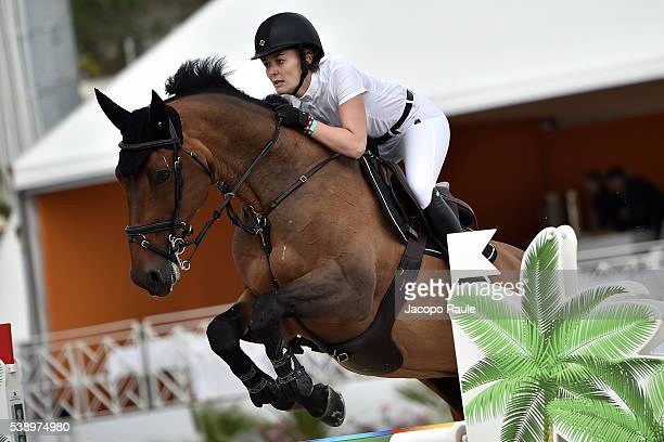 Marta Ortega Perez competes at International Longines Global Champion Tour Day 1 on June 9 2016 in Cannes France