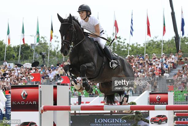 Marta Ortega Perez of Spain competes at the Paris Eiffel Jumping 2015 held at the Champs de Mars on July 5 2015 in Paris France