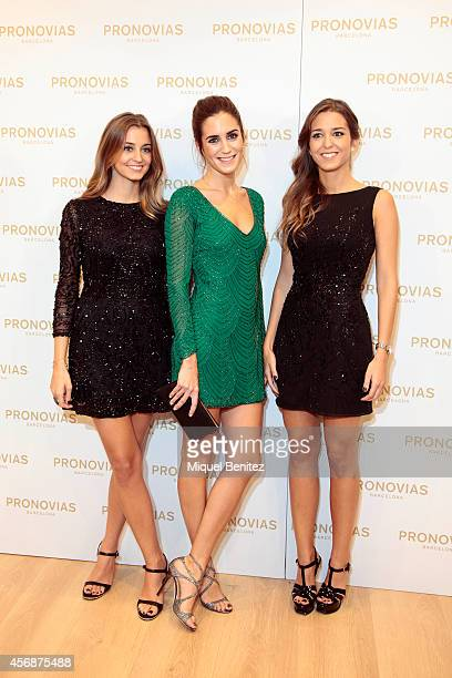 Marta Palatchi Gala Gonzalez and Gabriela Palatchi attend the 'Pronovias' flagship store opening on October 8 2014 in Barcelona Spain