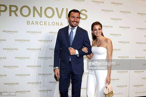 Marta Palatchi poses during a photocall for Pronovias bridal collection during the 'Barcelona Bridal Fashion Week 2016' at Italian Pavilion of Fira...