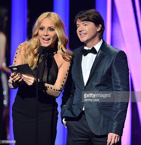 Marta Sánchez and Arthur Hanlon onstage during the 2015 Billboard Latin Music Awards presented by State Farm on Telemundo at Bank United Center on...