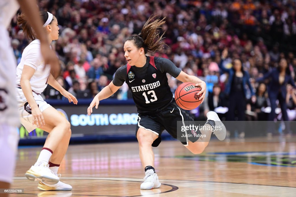 Marta Sniezek #13 of the Stanford Cardinal drives during the 2017 Women's Final Four at American Airlines Center on March 31, 2017 in Dallas, Texas.