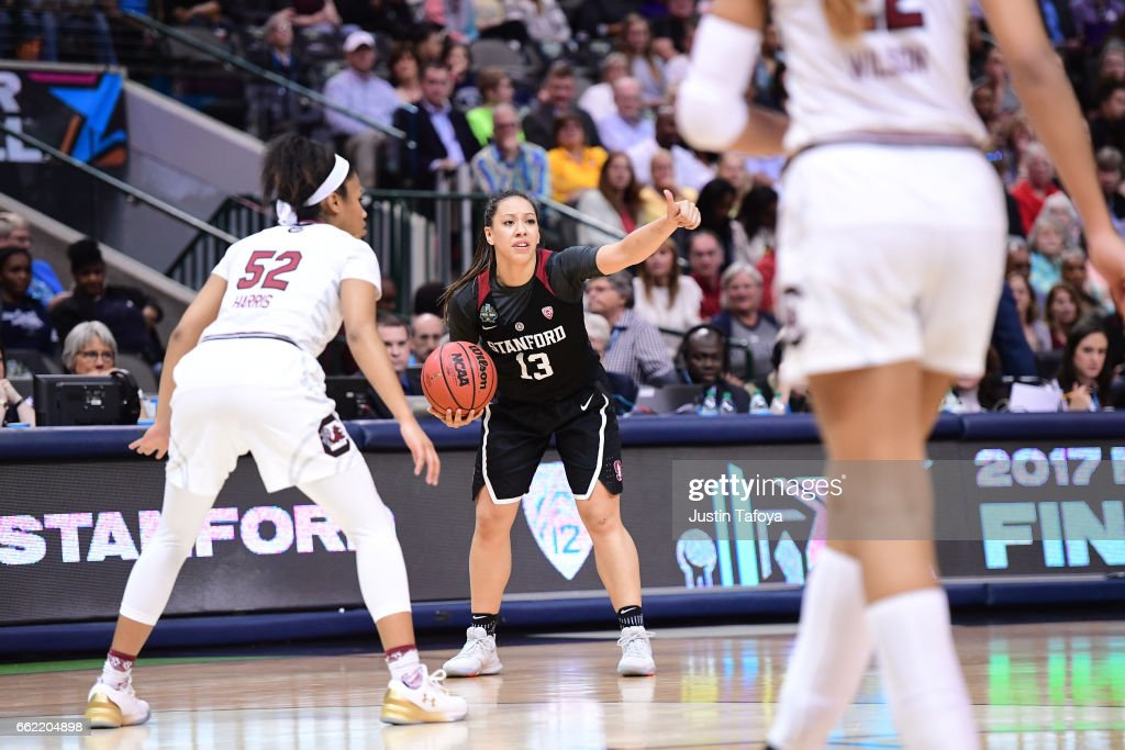 Marta Sniezek #13 of the Stanford Cardinal during the 2017 Women's Final Four at American Airlines Center on March 31, 2017 in Dallas, Texas.