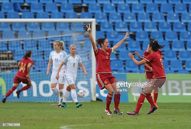 Marta Torrejon of Spain celebrates after scoring her team's opening goal from a free kick during the Spain Women v England Women International...