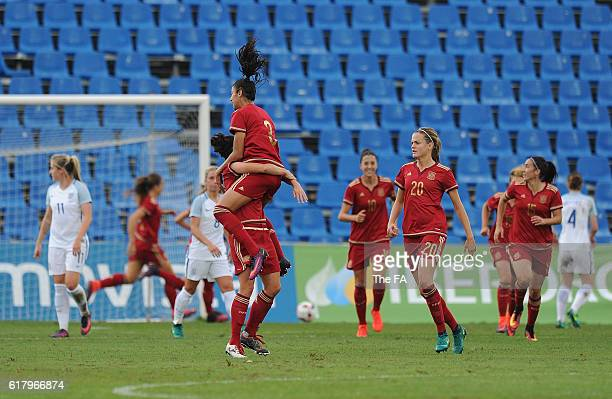 Marta Torrejon of Spain celebrates with Leila Ouahabi after scoring her team's opening goal from a free kick during the Spain Women v England Women...
